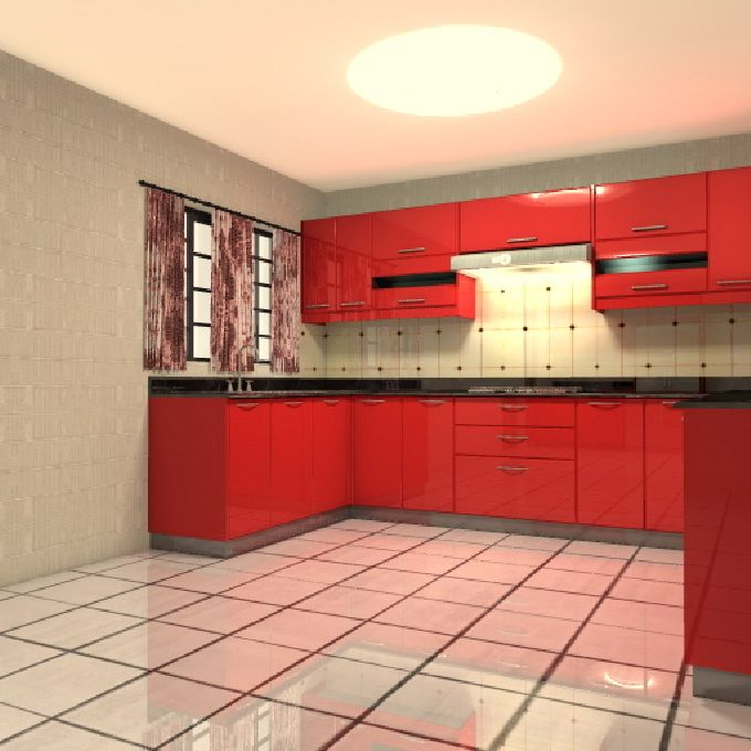 Plain and Simple Red Kitchen Cabinets