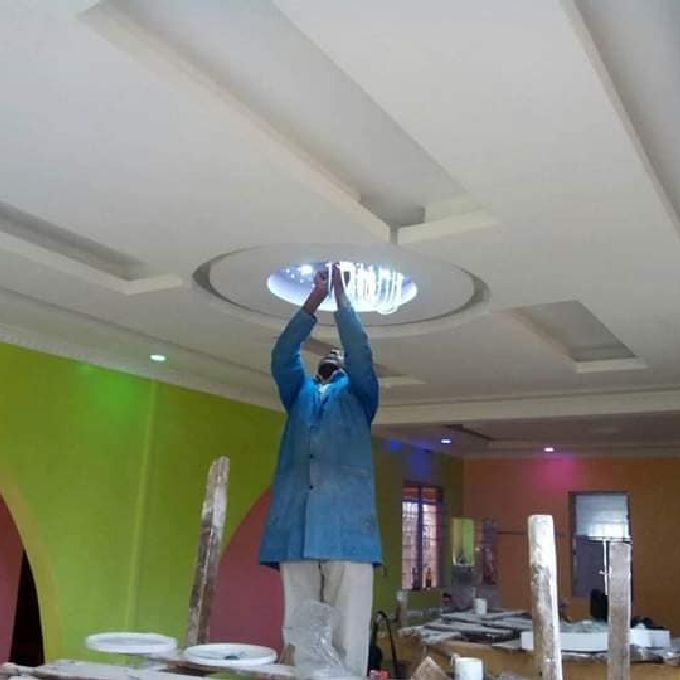 Living Room Gypsum Ceiling Design in Meru